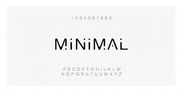Alfabeto moderno criativo de fonte mínima de tipografia. Vetor Premium