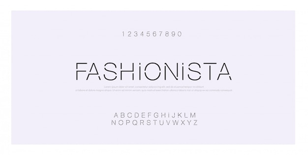 Alfabeto moderno criativo de fonte moda minimalista Vetor Premium