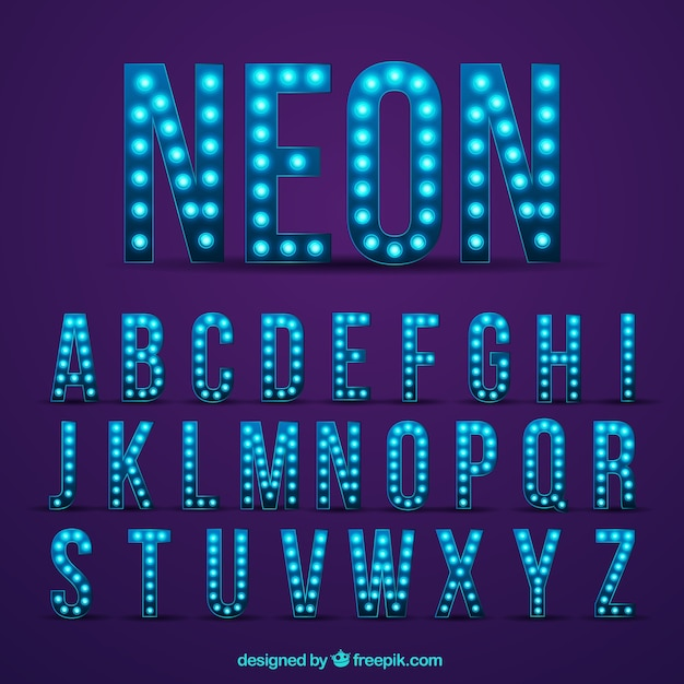 Alfabeto moderno néon Vetor grátis