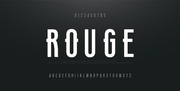 Alfabeto moderno urbano condensado fonte e número Vetor Premium