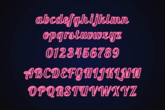 Alfabeto neon Vetor Premium