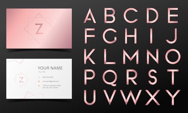 Alfabeto ouro rosa em estilo moderno Vetor grátis