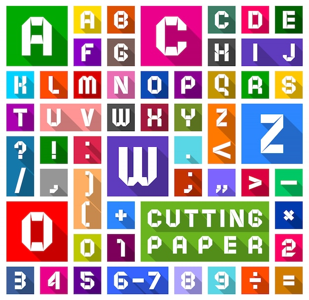 Alfabeto plana corte de papel, estilo simples Vetor Premium
