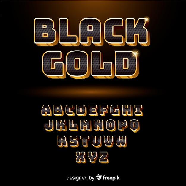 Alfabeto preto e dourado Vetor grátis