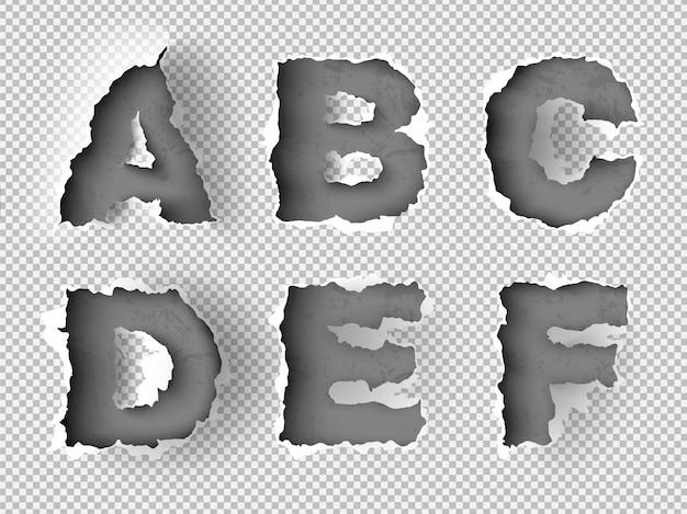 Alfabeto rasgado de papel em fundo transparente Vetor Premium