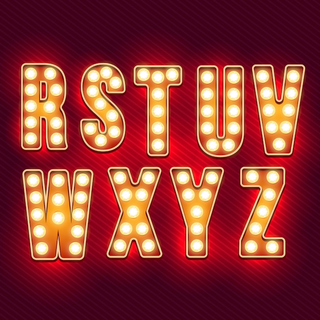 Alfabeto retrô. letras vintage realistas. lâmpadas de néon. letras retrô vermelhas. conjunto de cartas antigas do vintage. brilho na escuridão. Vetor Premium