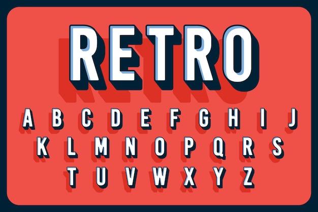 Alfabeto vintage tridimensional Vetor grátis