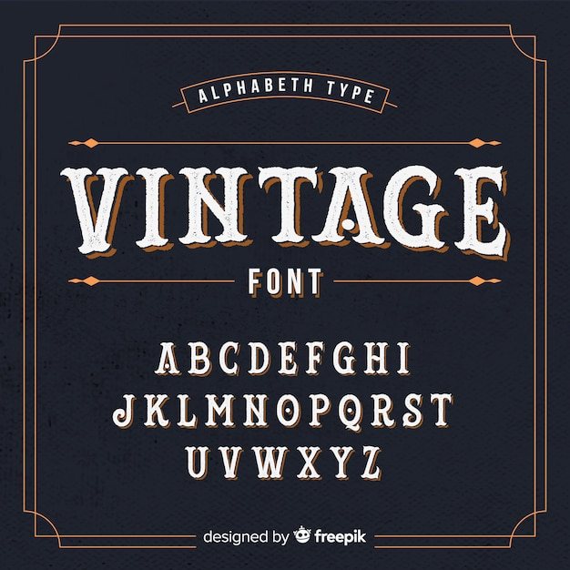 Alfabeto vintage Vetor grátis