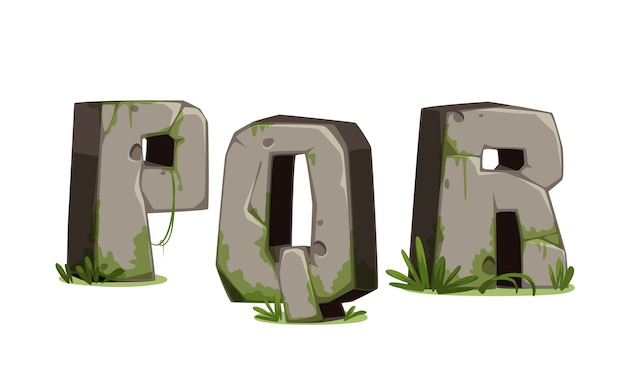 Alfabetos feitos de pedra Vetor Premium