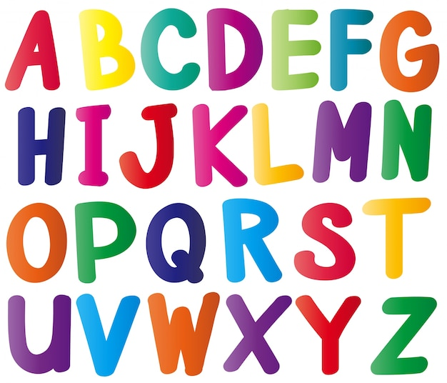 Alfabetos ingleses em muitas cores Vetor grátis