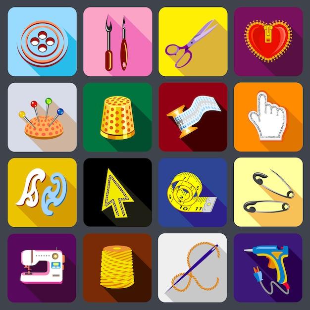 Alfaiate conjunto de ícones de ferramentas. Vetor Premium