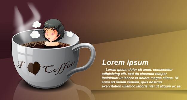 Alguém está tomando banho na xícara de café. Vetor Premium