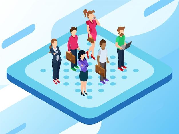 Algumas pessoas ou um mercado ou grupo de clientes em algum lugar para ser escolhido pela empresa Vetor Premium