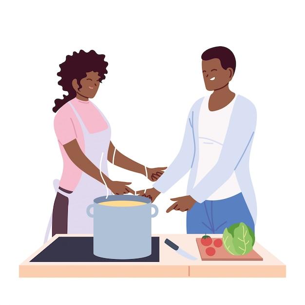 Algumas pessoas preparando sopa em branco Vetor Premium