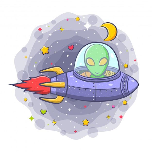 Alien assustador em um personagem de desenho animado disco voador Vetor Premium