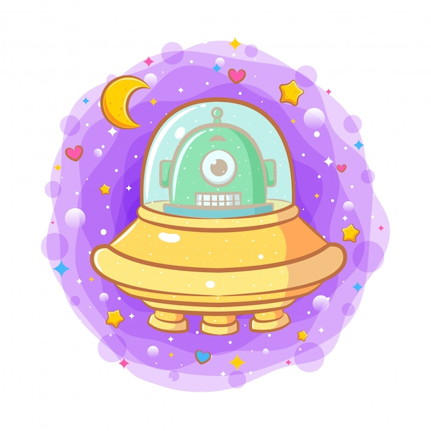 Alien bebê fofo em um disco voador Vetor Premium