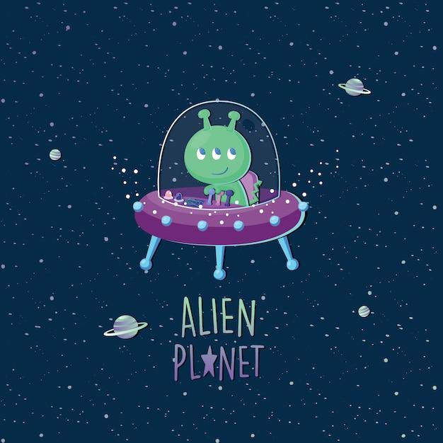 Alien de ilustração vetorial em ovni com galáxia Vetor Premium