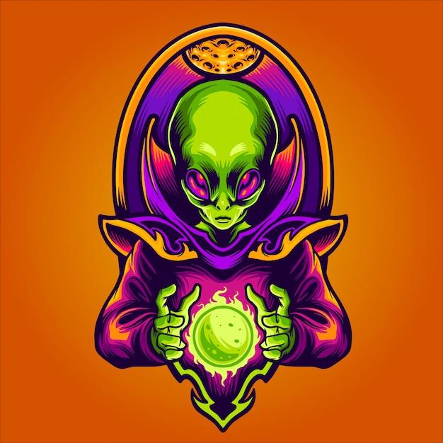 Alien fazendo nova ilustração do planeta Vetor Premium
