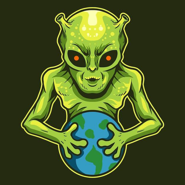 Alien segurar um projeto de ilustração vetorial terra isolado no escuro Vetor Premium