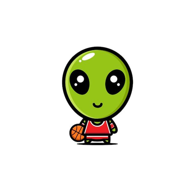 Alien vestindo um personagem de camisa de basquete Vetor Premium
