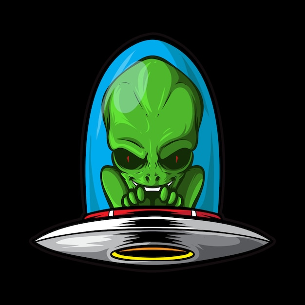 Alienígena com nave espacial Vetor Premium