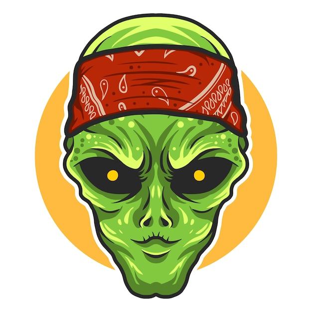 Alienígena usando bandana vector design ilustração Vetor Premium