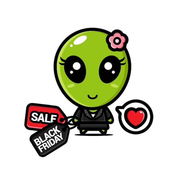 Alienígenas fofos com cupons de desconto na sexta-feira negra Vetor Premium