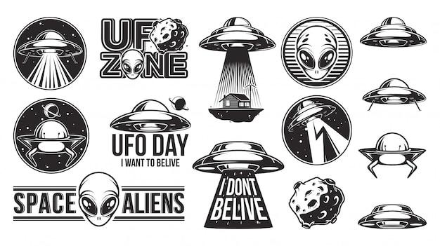 Alienígenas logotipo grande conjunto. dia do ufo. Vetor Premium