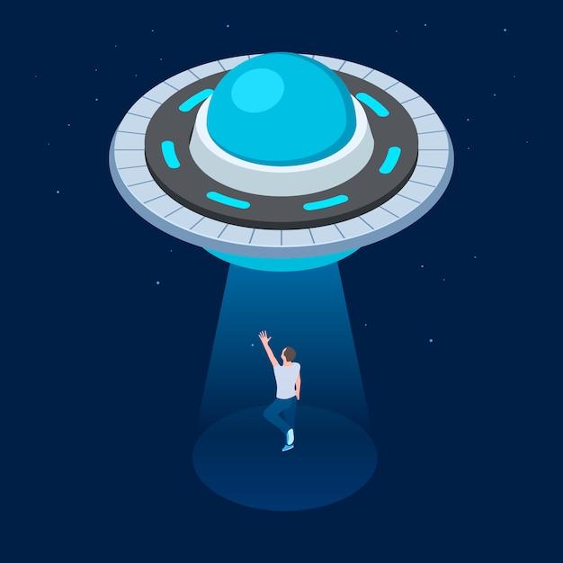 Alienígenas raptam o homem. nave espacial voadora de ovni isométrica. ovni sequestra homem ilustração vetorial Vetor Premium