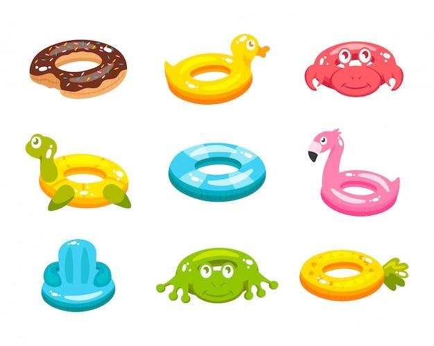 Alimento e anel de natação inflável Vetor Premium