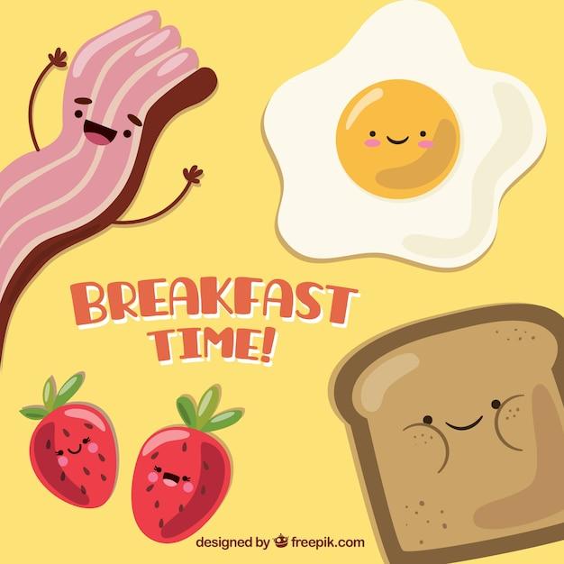 Alimentos bom pequeno-almoço Vetor Premium