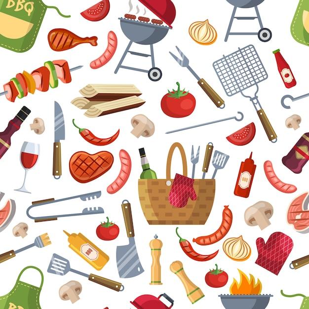 Alimentos diferentes para padrão de festa de churrasco Vetor Premium