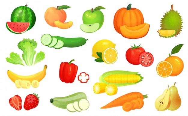Alimentos fatiados. legumes picados e frutas fatiadas. pique legumes, frutas e bagas fatia conjunto de ilustração dos desenhos animados Vetor Premium