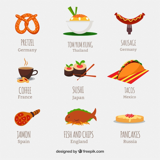 Alimentos internacionais Vetor grátis