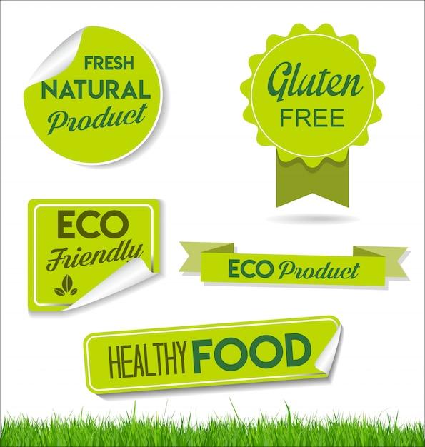 Alimentos naturais saudáveis rotula etiquetas orgânicas Vetor Premium