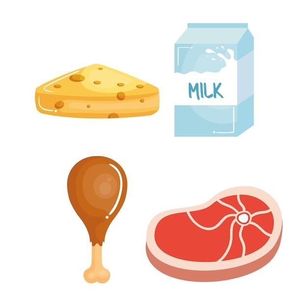e140764d6 Alimentos ricos em proteínas Vetor Premium
