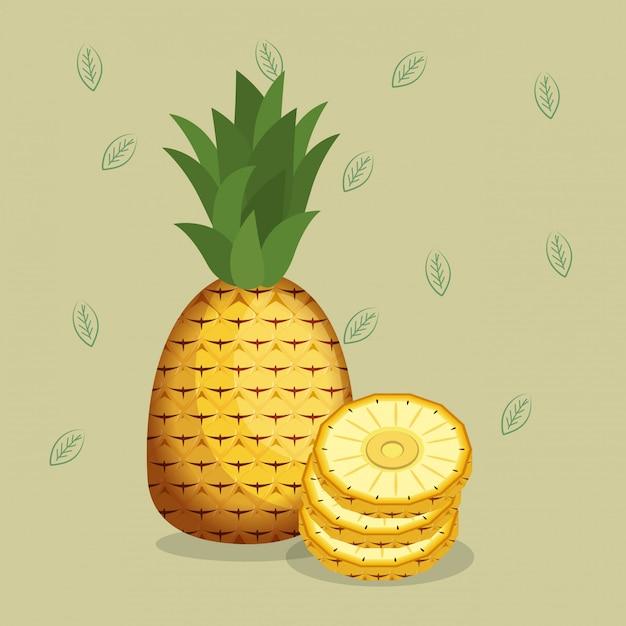 Alimentos saudáveis de abacaxis frescos Vetor grátis