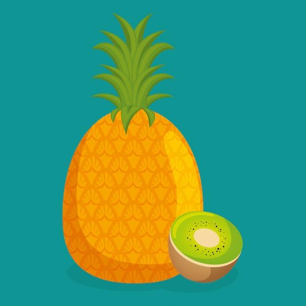 Alimentos saudáveis de frutas frescas de abacaxi e kiwi Vetor grátis