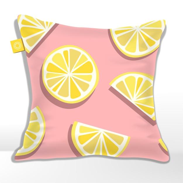 Almofada ou almofada com padrão de fatias de limão ou limão impresso Vetor Premium