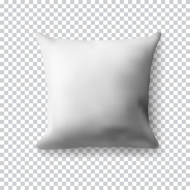 Almofada quadrada branca em branco sobre fundo transparente. ilustração realista. modelo em branco realista para o seu. Vetor Premium