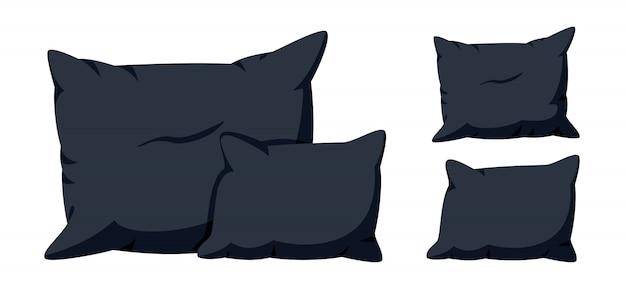 Almofadas pretas, conjunto de desenhos animados plana. têxtil interior para casa. modelo de maquete de almofadas quadradas elegantes macias, para cama, sofá. almofada escura Vetor Premium