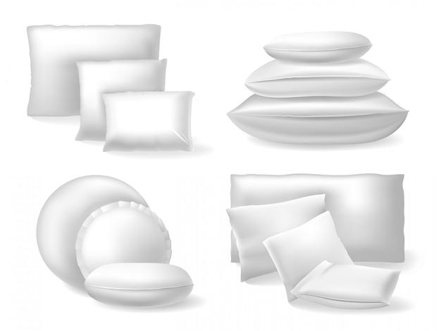 Almofadas realistas brancas. almofadas macias de cama conforto, descansar e dormir conjunto de ícones de ilustração de travesseiros de algodão ou linho aconchegantes. almofada aconchegante e confortável, sono retângulo Vetor Premium