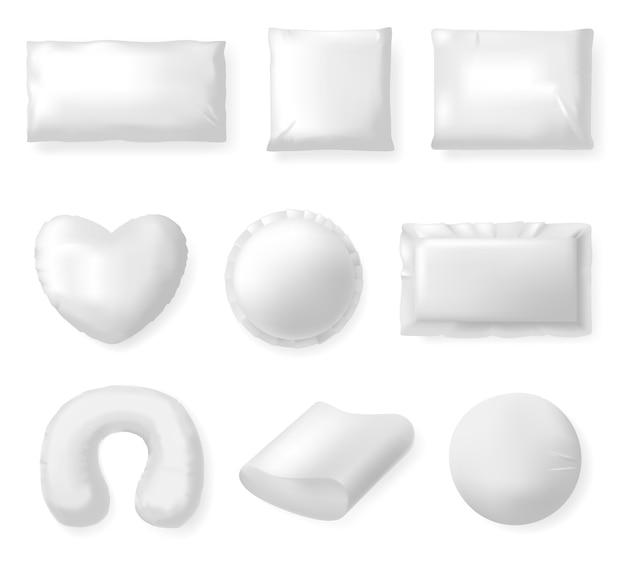 Almofadas têxteis realistas. almofadas brancas, conforto têxtil almofada macia, dormir e descansar conjunto de ilustração de travesseiro quadrado. almofada macia e algodão confortável, cama macia Vetor Premium