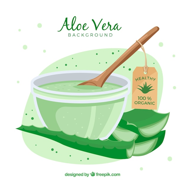 Aloe vera lotion background Vetor grátis