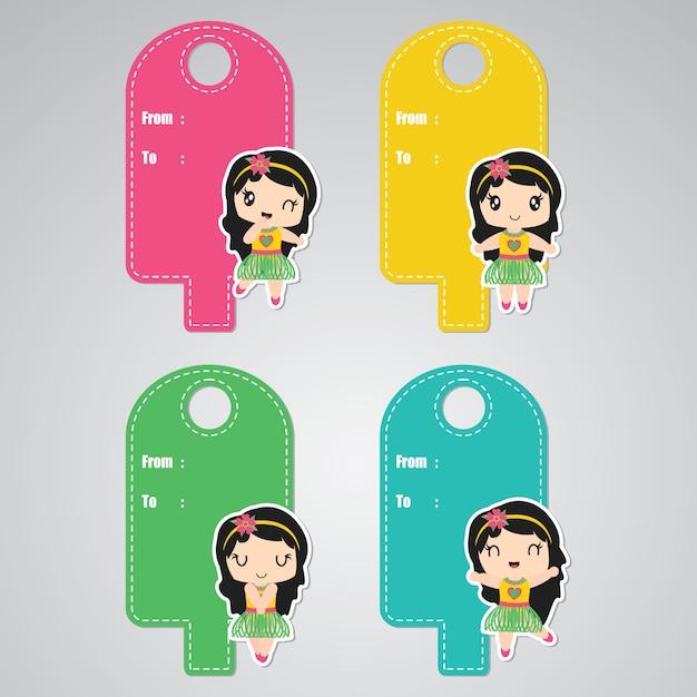 Aloha bonito menina personalizada para conjunto de etiquetas de presente de aniversário Vetor Premium