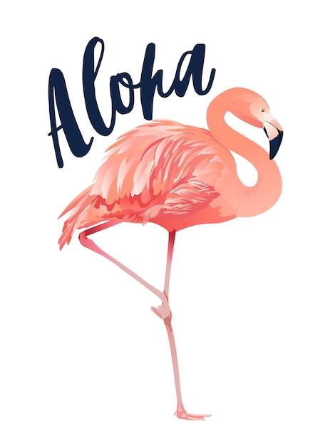 Aloha flamingo ilustração estilo isolado Vetor Premium