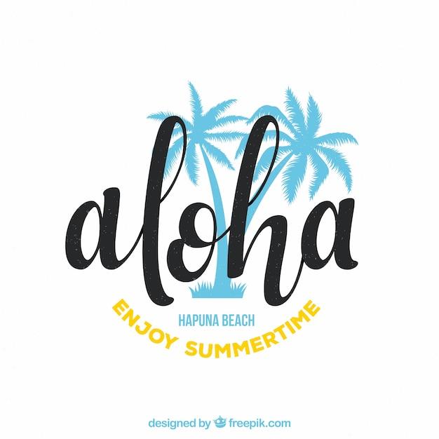 Aloha fundo com palmeiras Vetor grátis