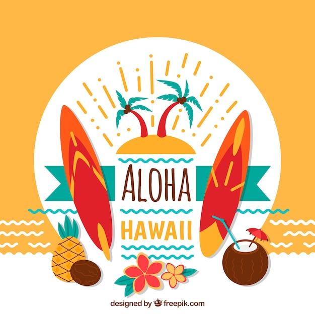 Aloha fundo decorativo e pranchas de surf Vetor grátis