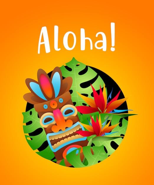 Aloha letras com plantas tropicais e máscara tribal em círculo Vetor grátis