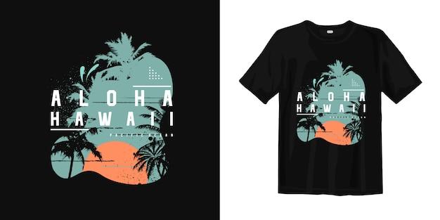Aloha t-shirt da praia do verão de havaí Vetor Premium